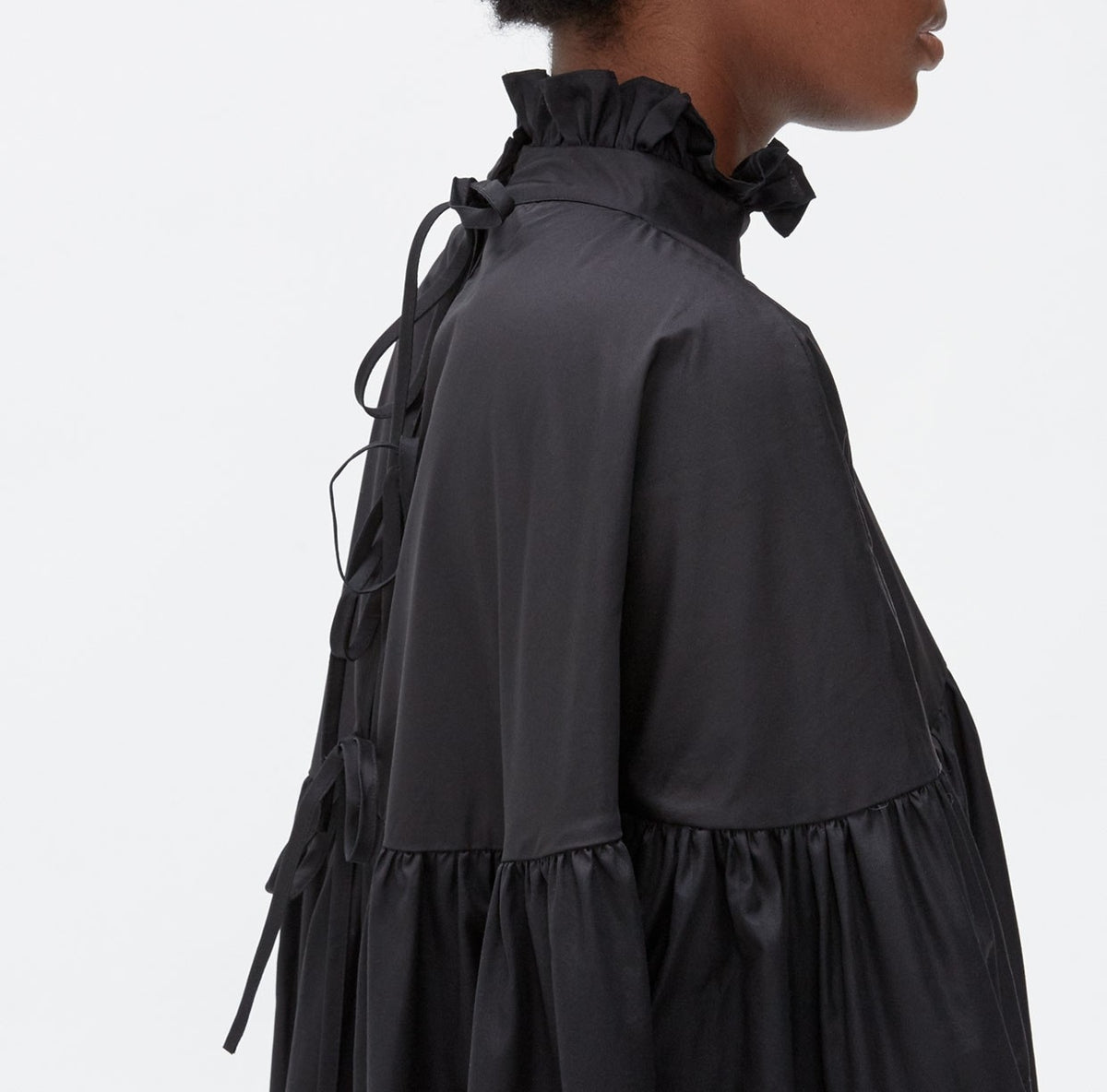 Balloon Sleeve Gathered Funnel Neckline Pleated Sleeves and Skirt Poplin Dress