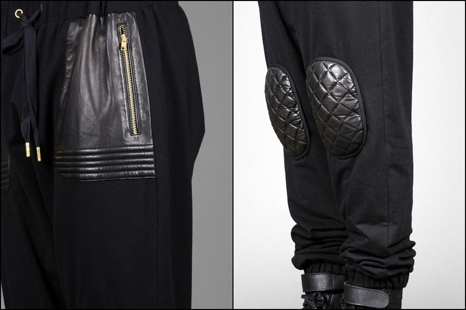 Future Moto Pants With Faux Leather Knee Patches and Two Silver Zip Leather Pocket