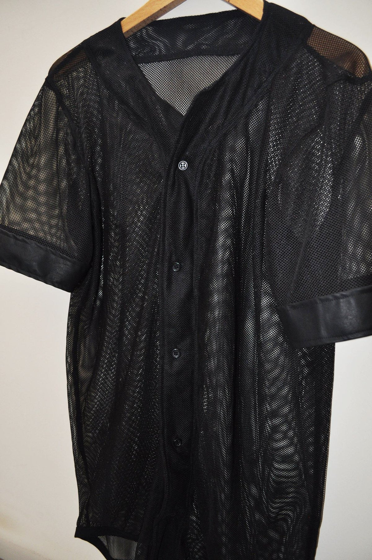 Black Mesh Full Button Custom Baseball Jerseys    // Handmade--
