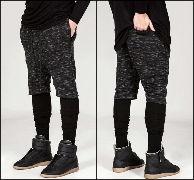 Biker Panelling Shadow Shorts with a Drop Crotch and Tapered Leg