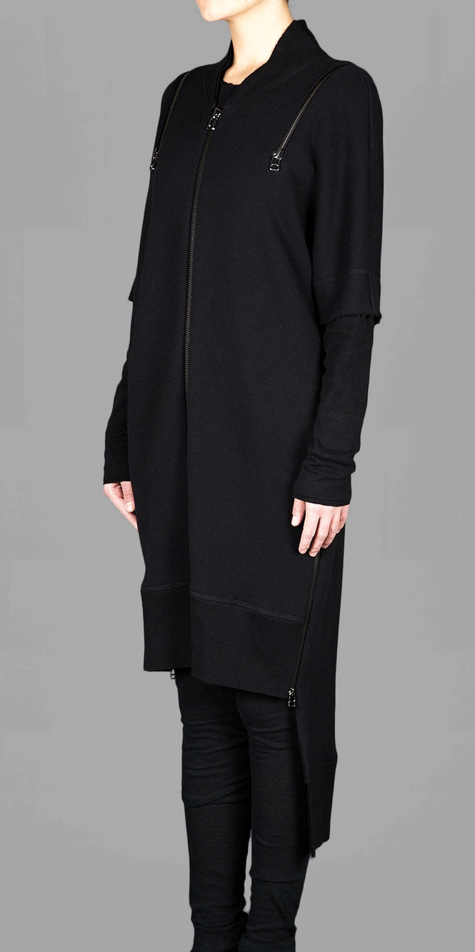 Oversized Overlong Jersey Long Sleeve Hoodie with Shoulder and Sides