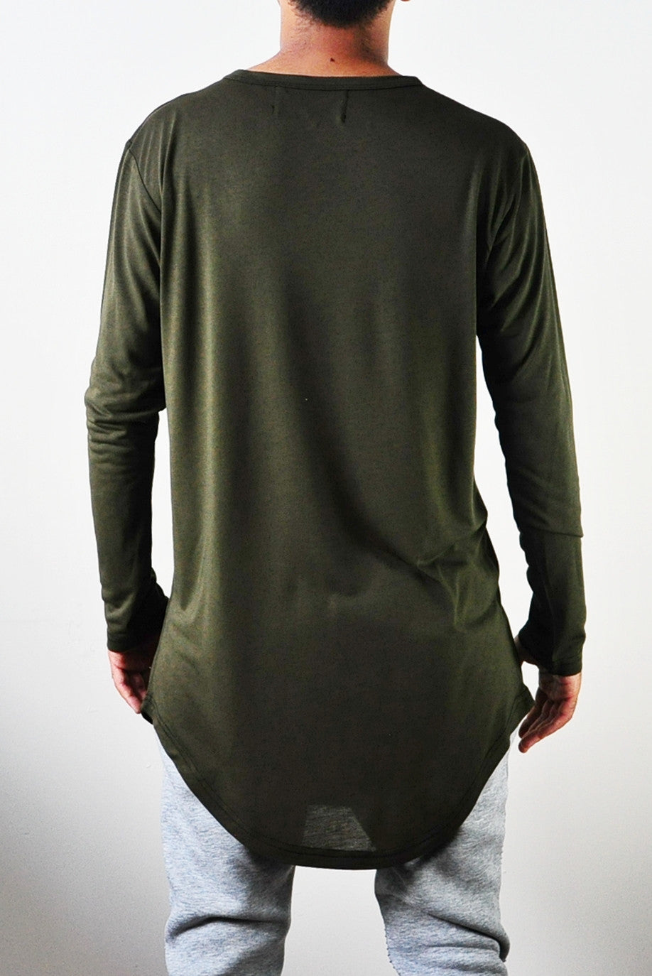 Mens Long Sleeve Wide Neck Lengthen Extended Oval Hem Tee Tshirt