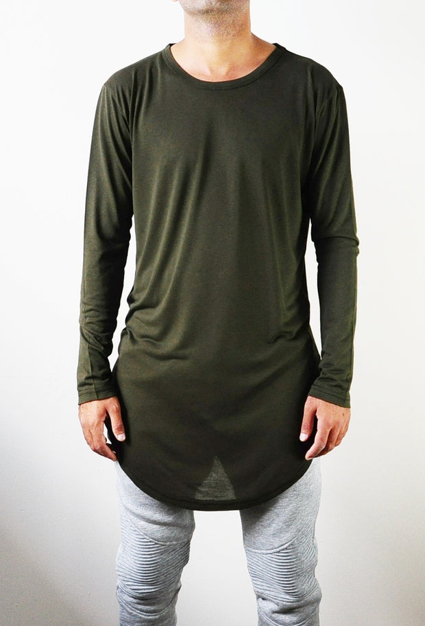 BM Essentials Army Green Mens Viscose Cotton Long Sleeve Wide Neck Lengthen Extended Oval Hem Tee Tshirt