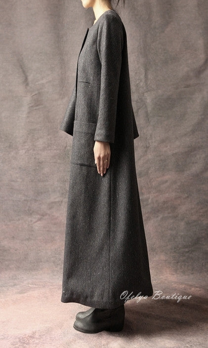 Oversized Big Dress With Two Pockets Stretch Cotton Asymmetric Cape Sleeve Coat/ Winter Woolblend Coat