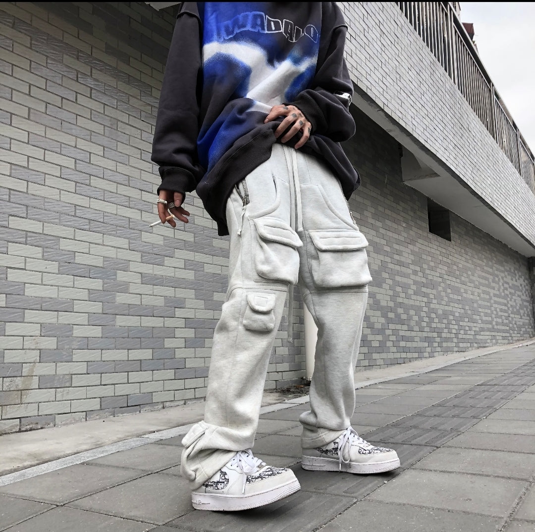 2022 Mens Track Pant Casual Streetwear Loose POCKETS Trousers Kanye Bottom Zipper Trouser