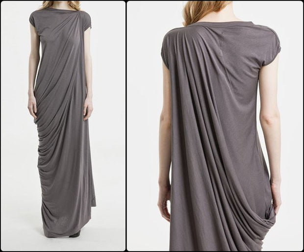 Crazy Draped ! Sleeveless Asymmetrical Draped Nude Silhouette Long Anthem Viscose Dress / Short Sleeve