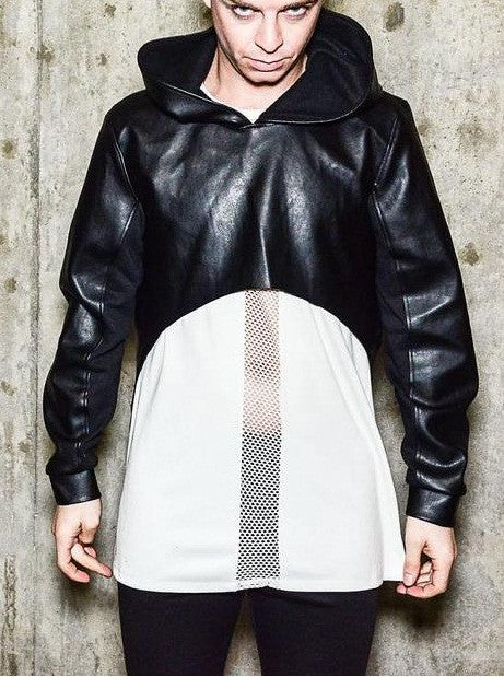 Asymmetric Crop Leather Hoodie Mix Jersey Jacket