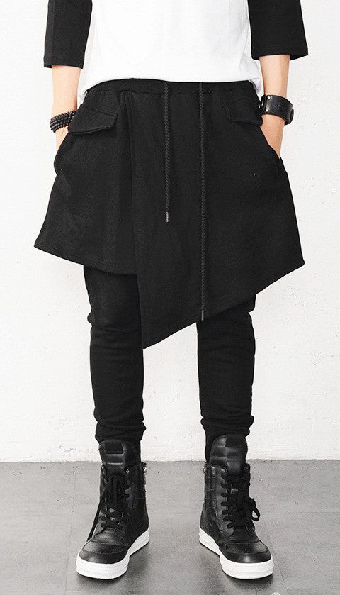 Men's Drop Crotch Kilt Wrap Jersey Owens Pants / Loose Casual Drop Crotch Harem Pants