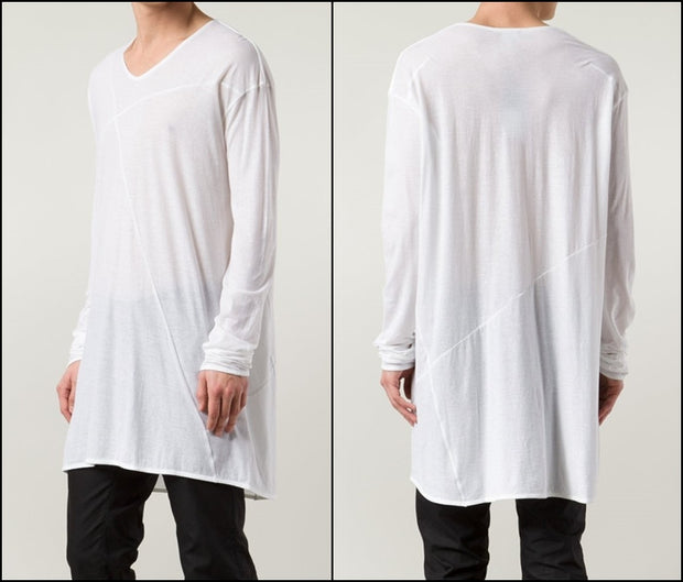 Asymmetric Long-Sleeve Viscose Cotton Tee // Wide Neck Raw Hems Lengthen Extended Elongated Henley Tee Design Long Sleeve Tops