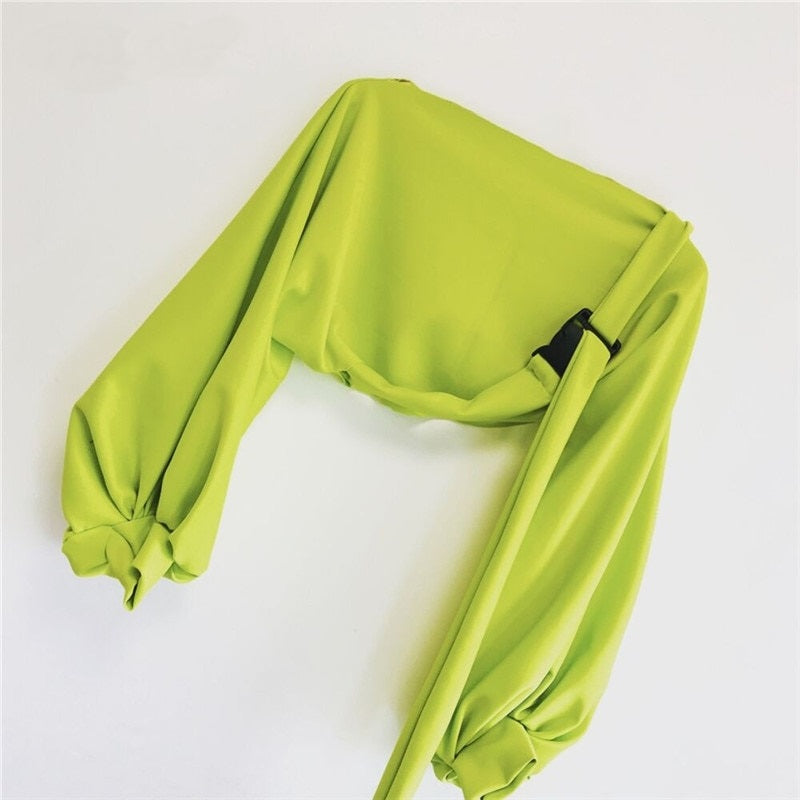 Women Neon Oversized Hoodies / Boat Neck Lantern/Long Sleeve/Sexy Cropped Sweatshirt