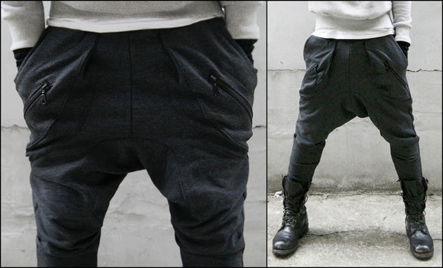 Avant-garde Black Mens Low Drop Crotch Harem Zippered Pocket Baggy Sweatpants / Men Slim-Fit Zip Pocket Trouser