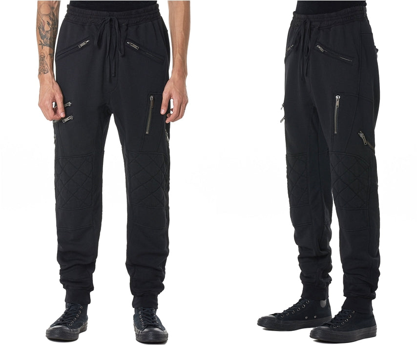 BIKER ZIP JOGGERS / Elastic Waistband / Zip Leg Pockets / Diamond-Quilted Knees