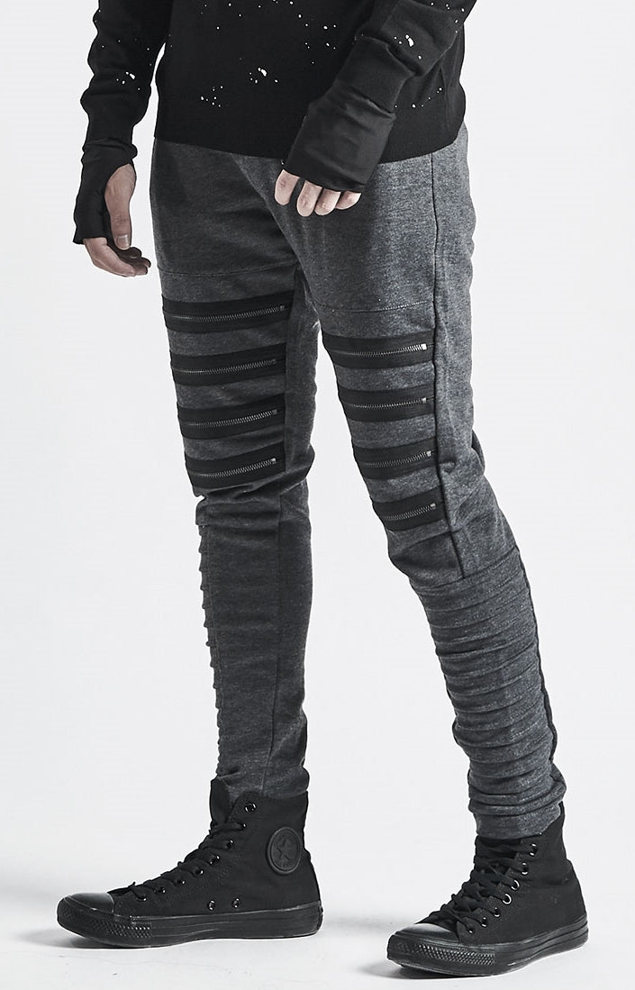 Men's Zipper Knee Korean Style Casual Biker Pants / Tapered Fitted Jogger Trouser