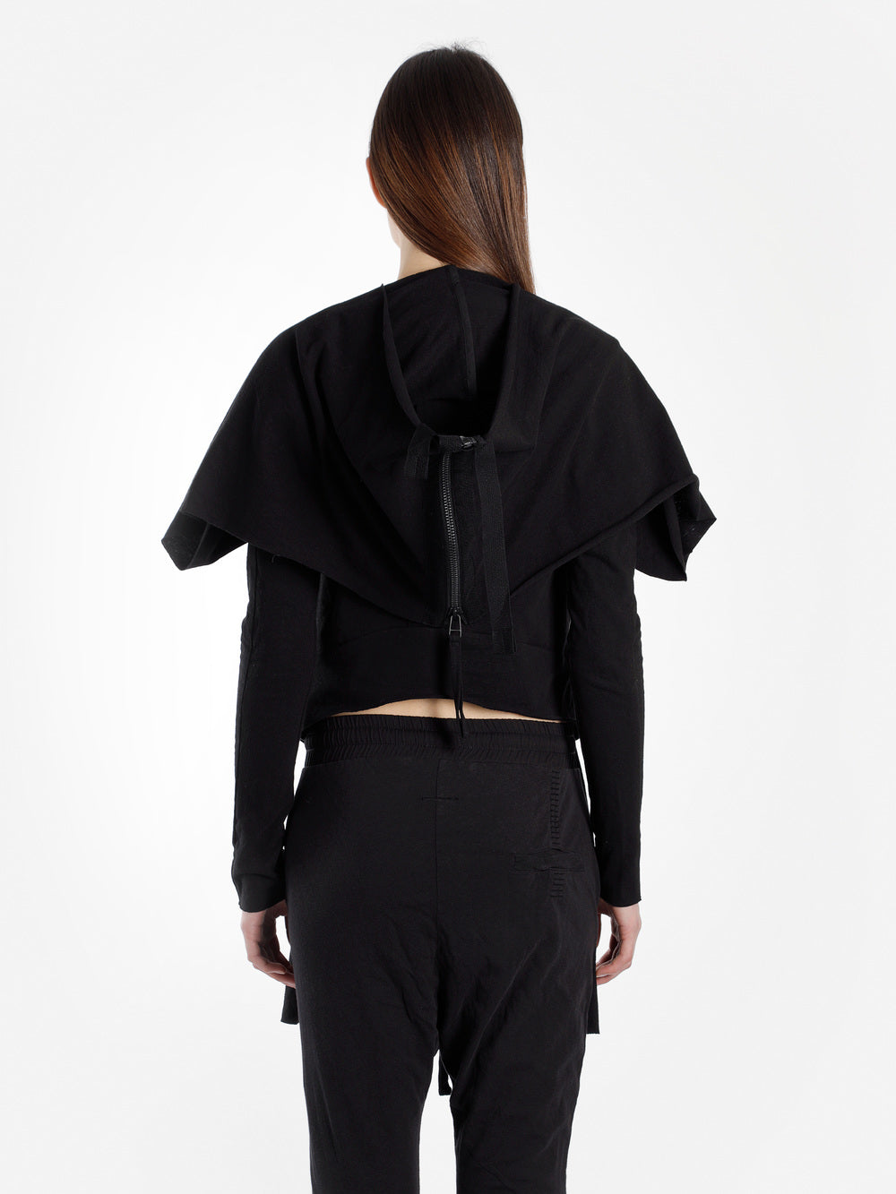 Women's Black Jacket With Panel - Cut out Bottom Zip Closure