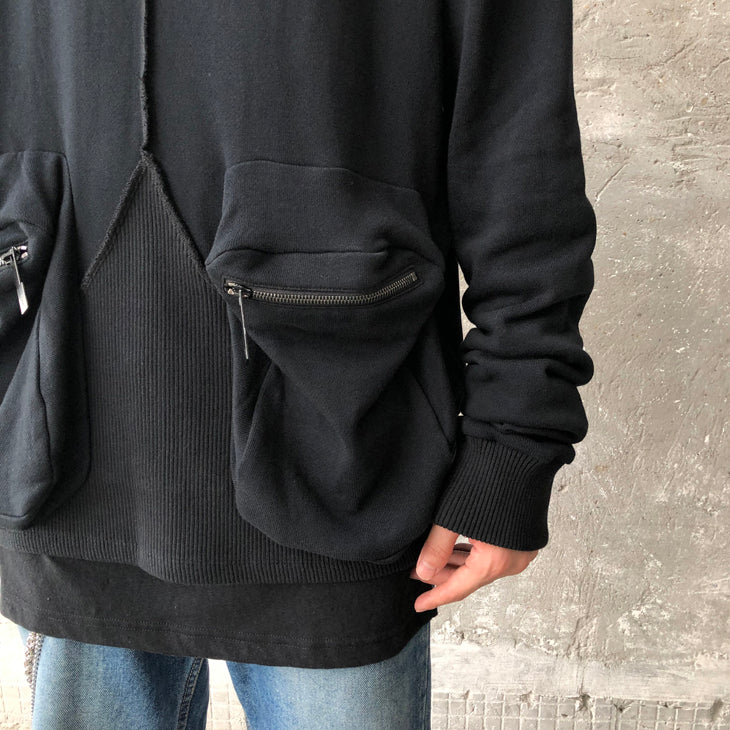 Men's Oversized Chest and Hem Stitching Three-Dimensional Front Double Pocket Drop Shoulder Round Neck Pullover Sweater / Tactical