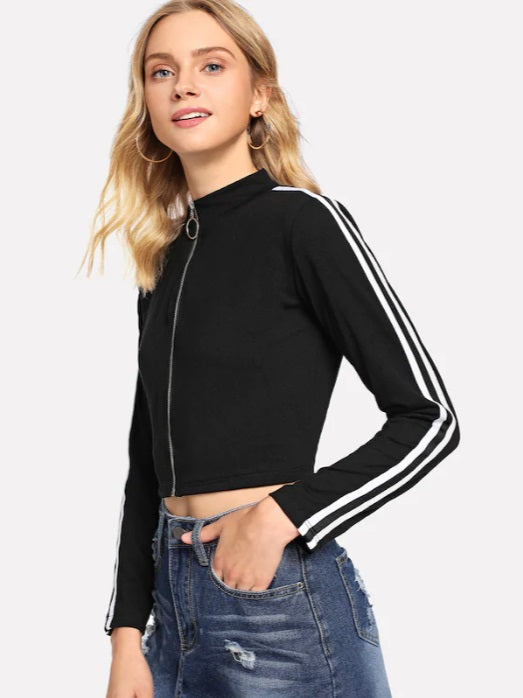 Striped Tape Side Zip Up Tee