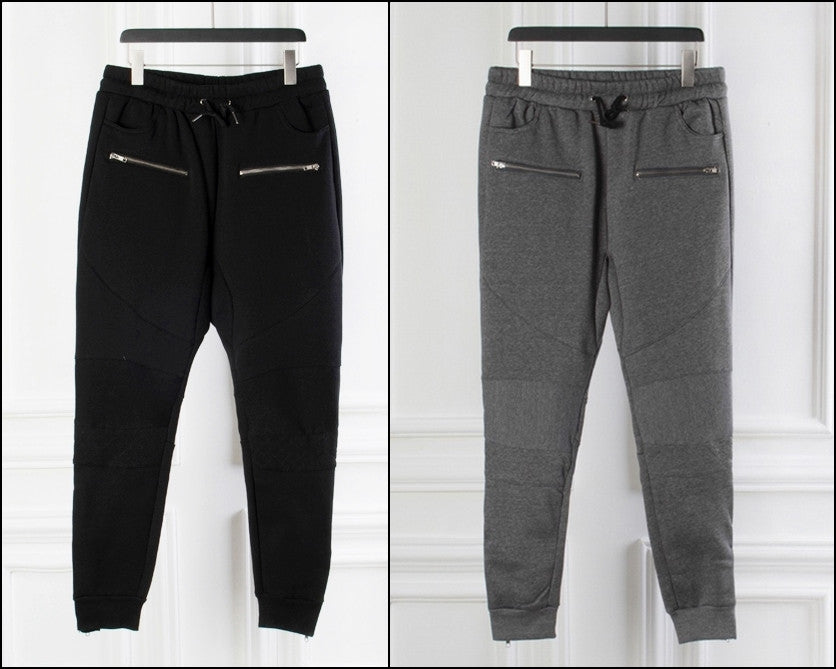 Biker Slim Fit Skinny BL Cross Pintuck Knee Casual Sweatpant Trackpant for Men