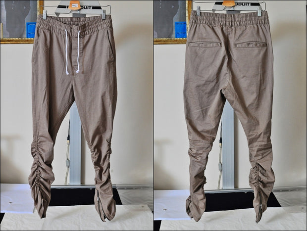 1 Men's Khaki Sarouel Slim Fitted Bottom Zipper Cuffed Lounge Sweatpant Jogger Pants Jersey / Casual Pants-Trouser