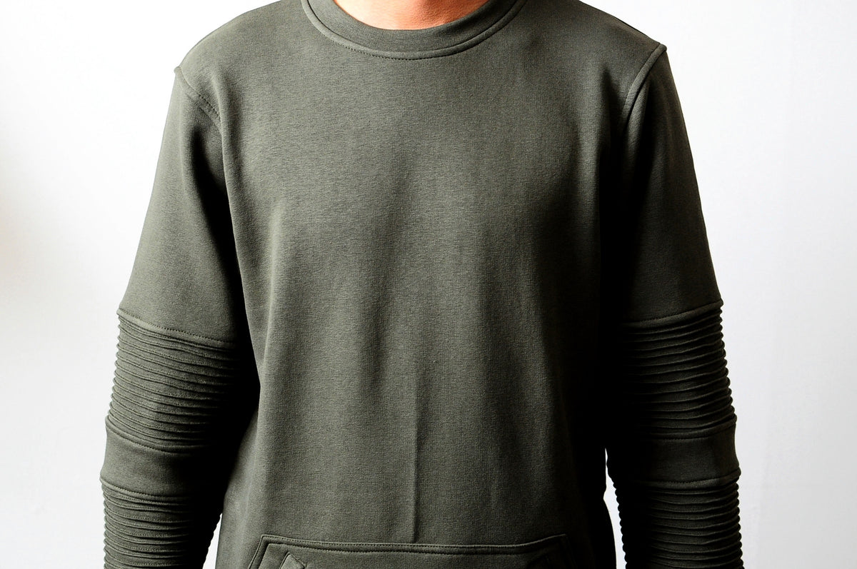 Men Crewneck Kangaroo Zipper Pocket Side Zipper Sweatshirt
