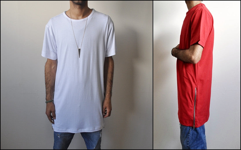 Essentials Extended Side Zipper YKK Drop T Shirt Side Zipup Viscose Tshirt