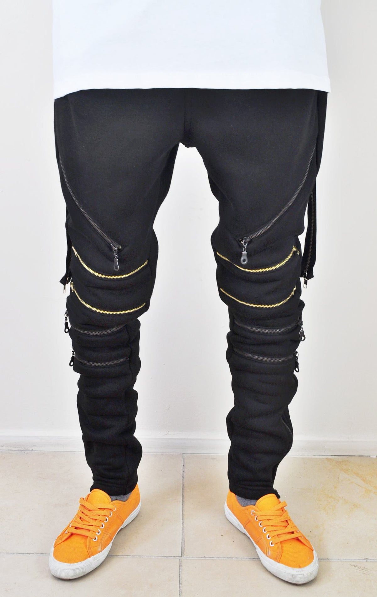 Biker Drop Crotch Side Pocket False Zip Open Knee Side Cotton Jogger Harem Pants