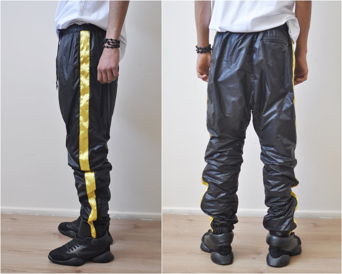 Black Gold Nylon Contrast Side Stripe Jogger Sweatpant Drawstring Track Pants