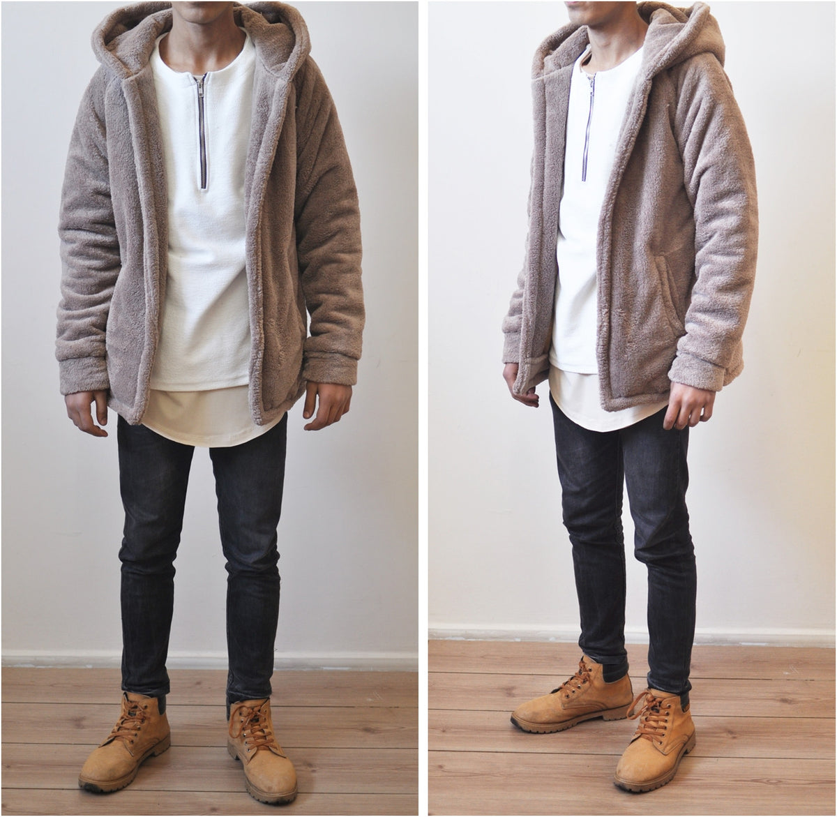 Men's Oversized Sherpa Anorak BoxyFit Side Slit Ivory Raf Bubble Furry Hoodie Warm Sherling Hoodie Winter / Pullover Supreme Yeezy Lining
