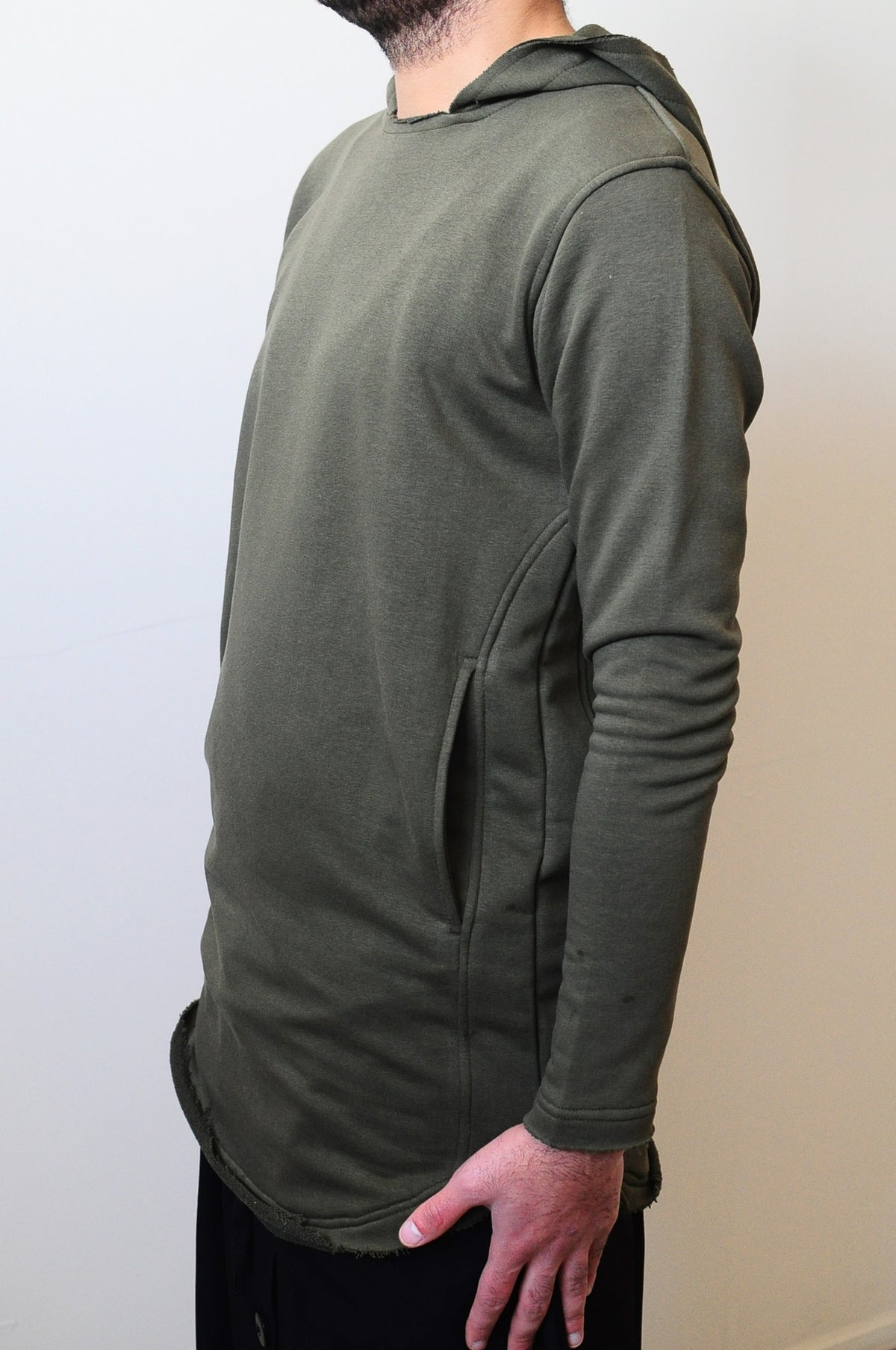 Cotton Wide Round Neck Asymmetric Raw Cut Seam Detail Sweaters Hoodie