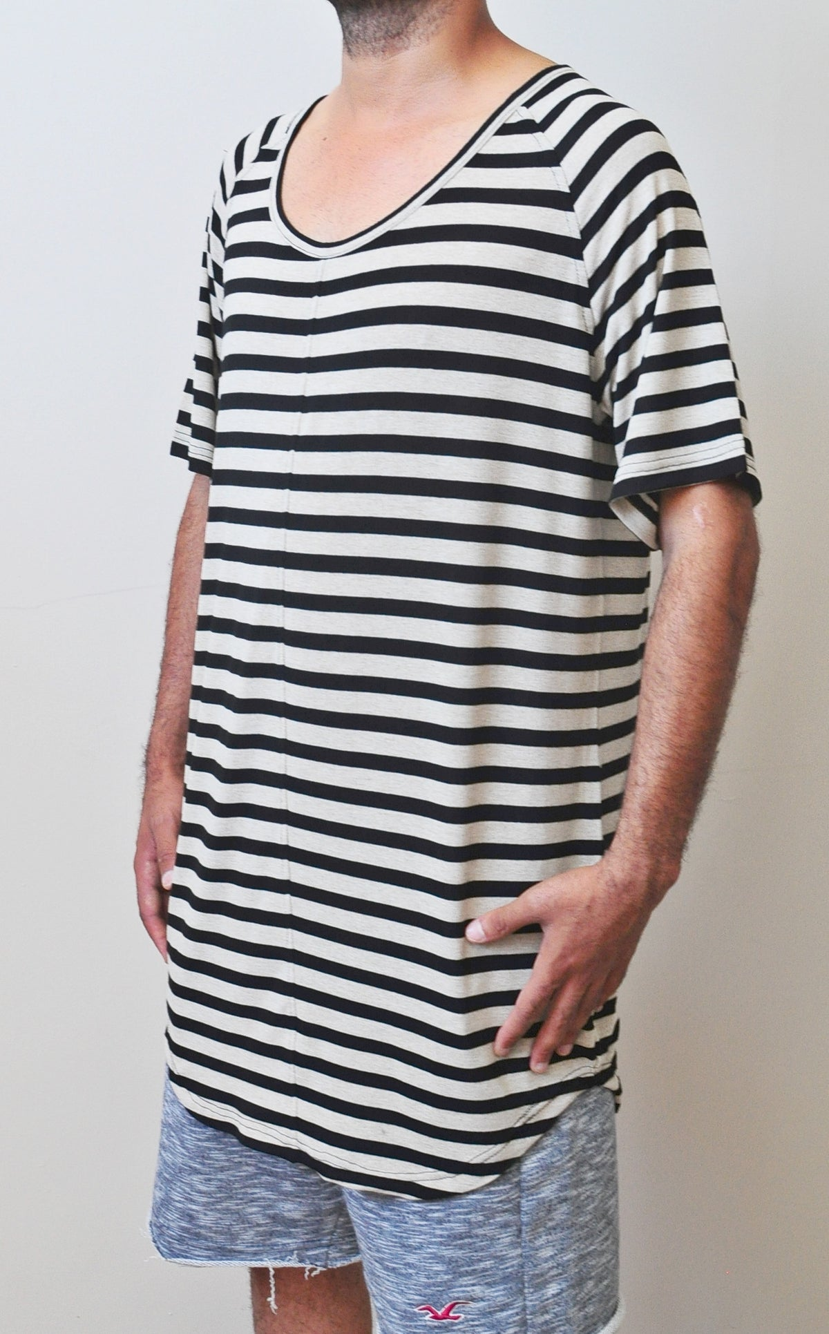 Knit Striped Under Scoop T-shirt - Extended Overlong Short Sleeve Drop Shoulder Centre back seam