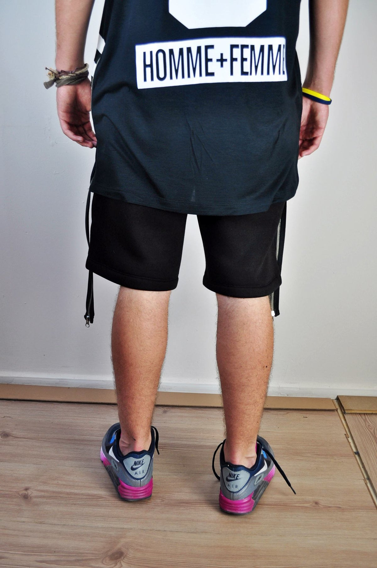 KANYE Pintuck Biker Cotton Short Pants / Sports Casual Short