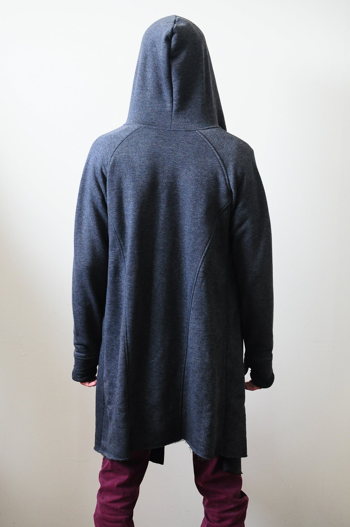 Smoke Long Sweater Cardigan With Hood / Glove Sleeves - Seam Details - LONG ASYMMETRIC CUT