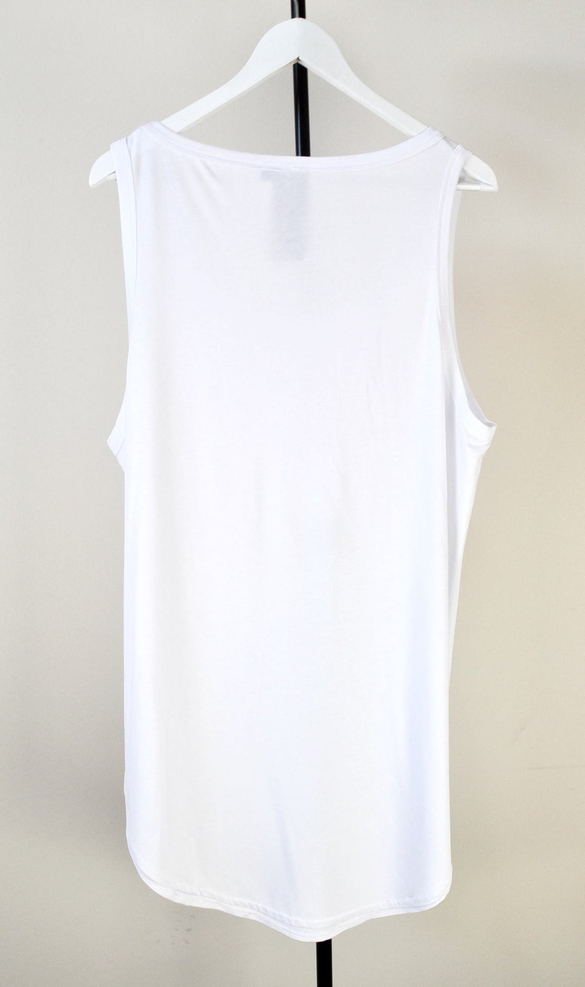 Extended Silky Long Tank Top Oval Hem Viscose Cotton 90cm