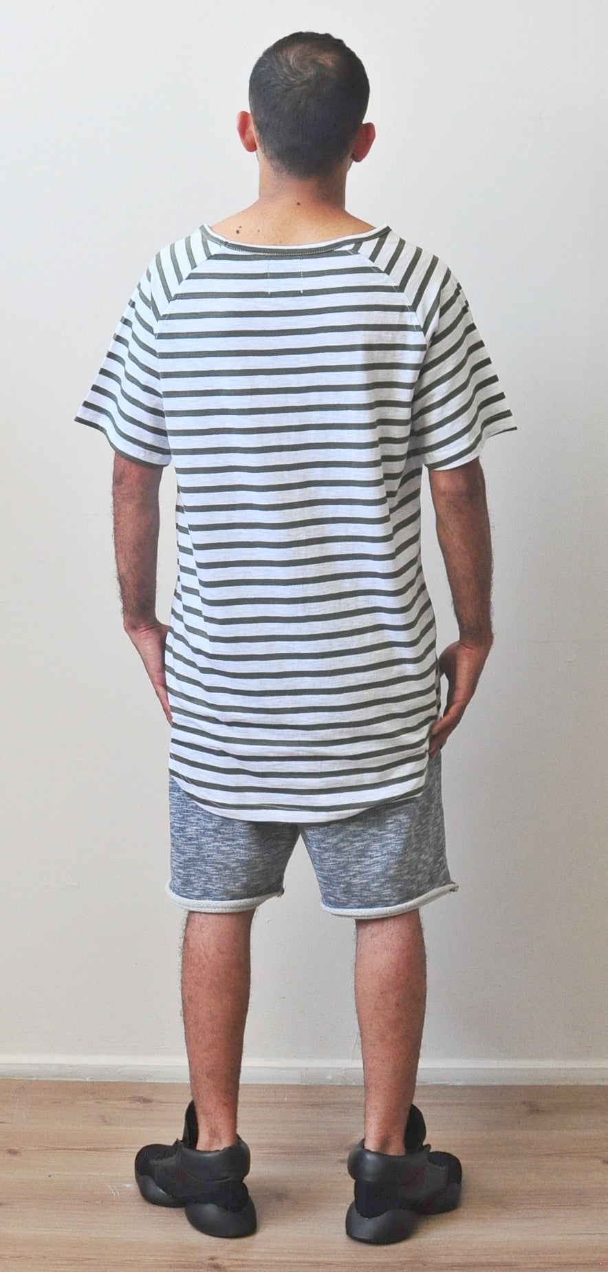 Striped White-Green Under Scoop Cotton Long Sleeve T-shirt - Extended Overlong -  Drop Shoulder Centre back seam