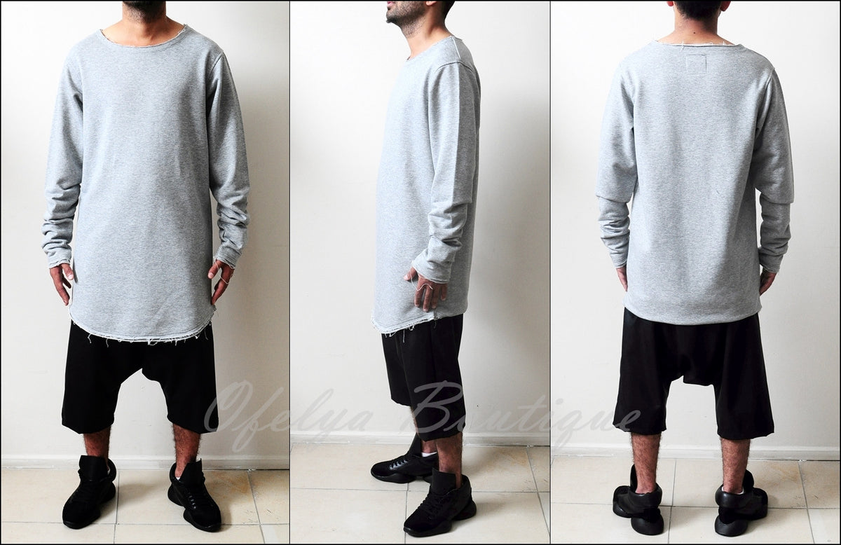 Streetwear Extended Long Sleeve Essentials Wide RAW Neck Jersey Shirt