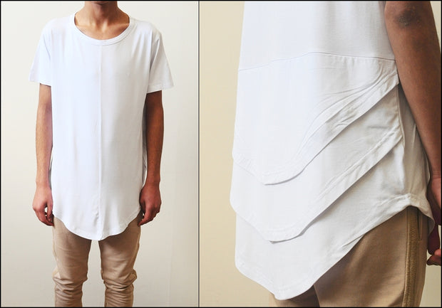 White Distressed Scoop Wide Neck Short Sleeve Extended Folded Back Tshirt --- Relaxed fit / Long Fitted
