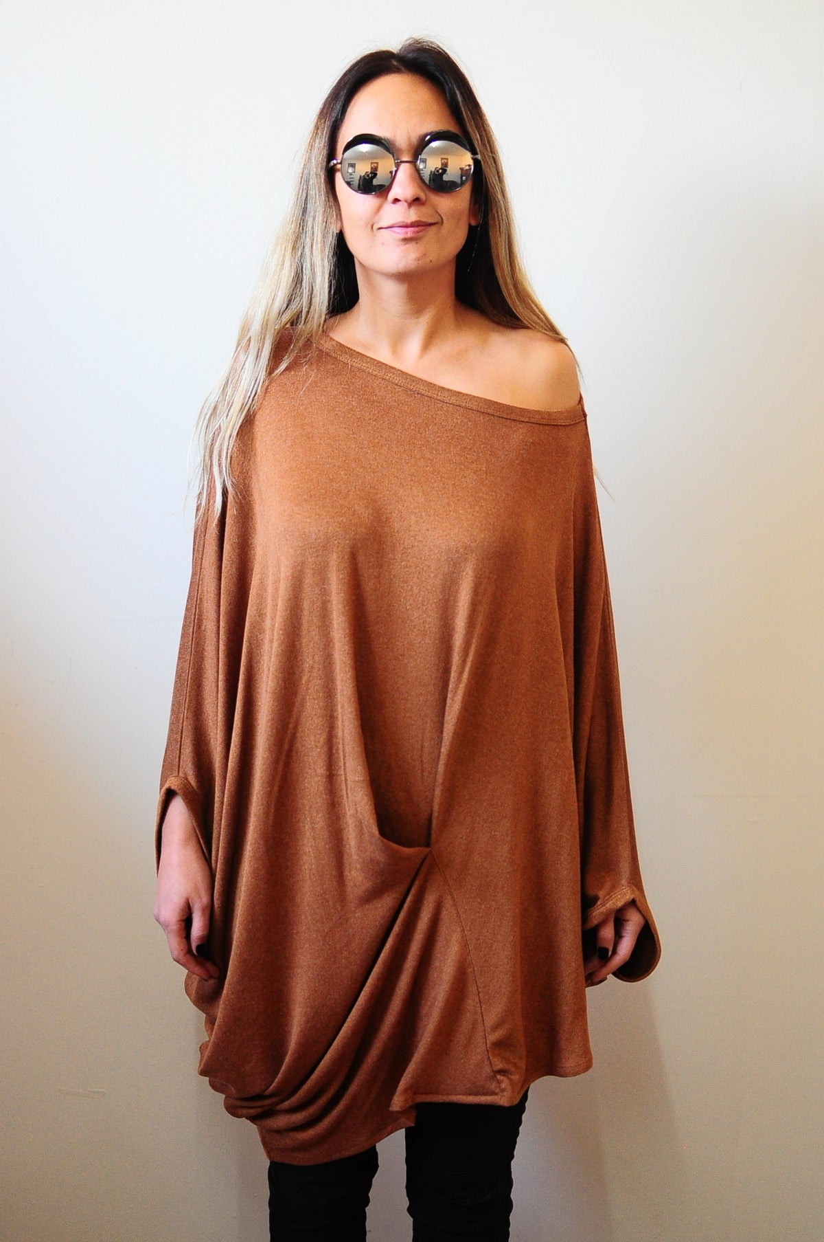 Twisted Brown Top Oversized Asymmetrical Top Loose Grey Top Casual Cotton Blouse