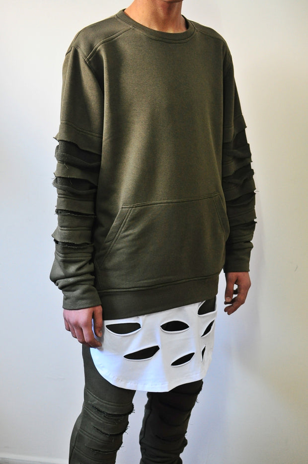 1 Men's Disstress Sweatshirt / White Disstressed Layer Slevees Hoodie / Skinny Fit Sweater