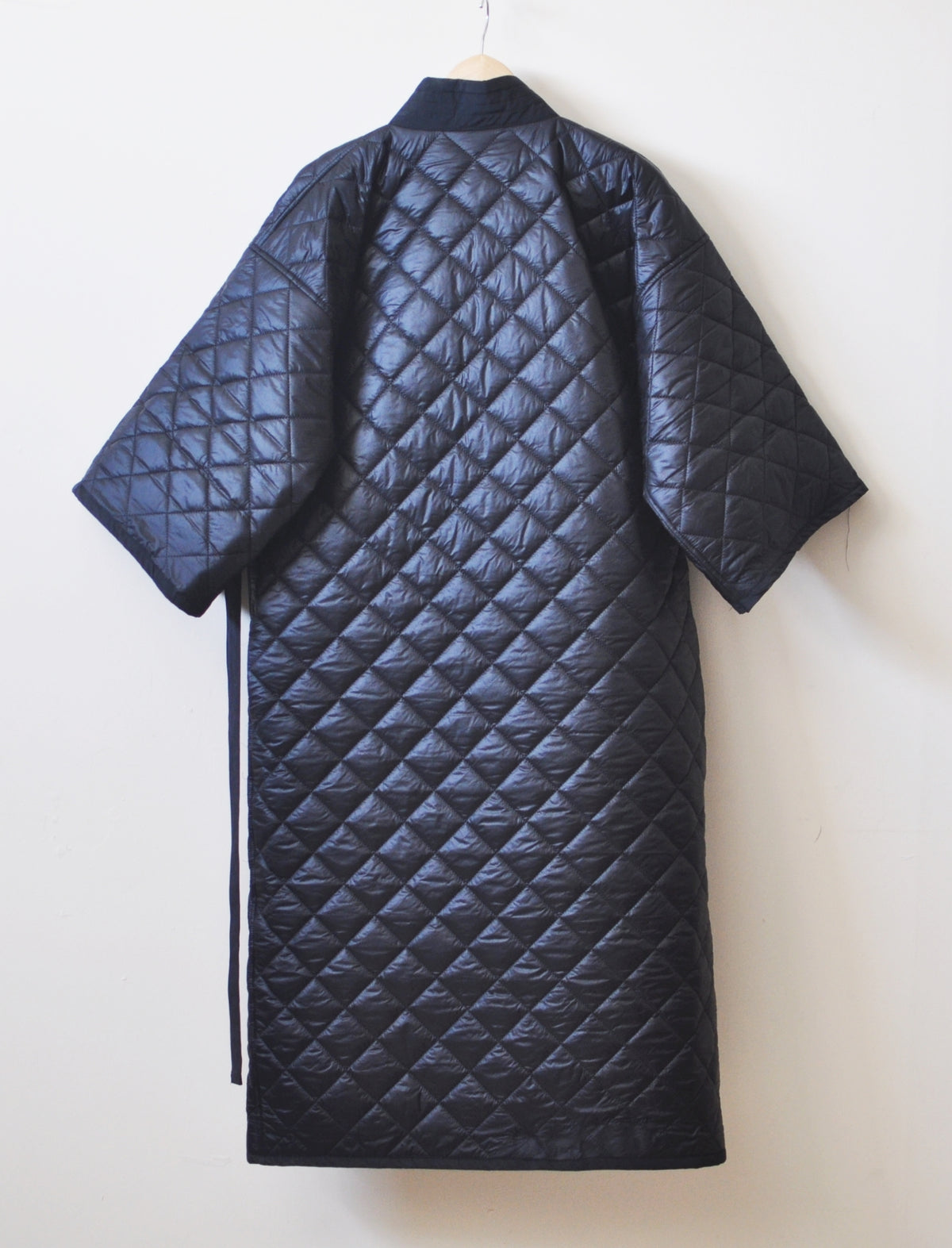 Winter V-Collar Three-quarter Sleeve Kimono /Bandage Padded Coat Quilted Overlong Coat / Loose Over the Knee Long Jacket / Kaftan Maxi Dress