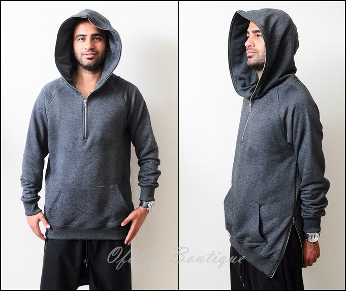 BM KANYE Dark KW Long Sleeve Side Zip Half-Zip Essential Extended Combed Cotton Hoodie