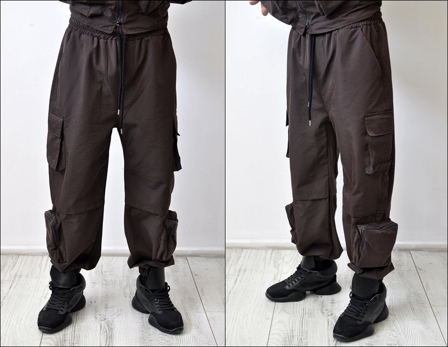2 Pieces Sets Men Fashion Detachable Cargo Waistcoat With Pockets Military Jacket And Loose Fit Elastic Waist Pants Hip Hop Set