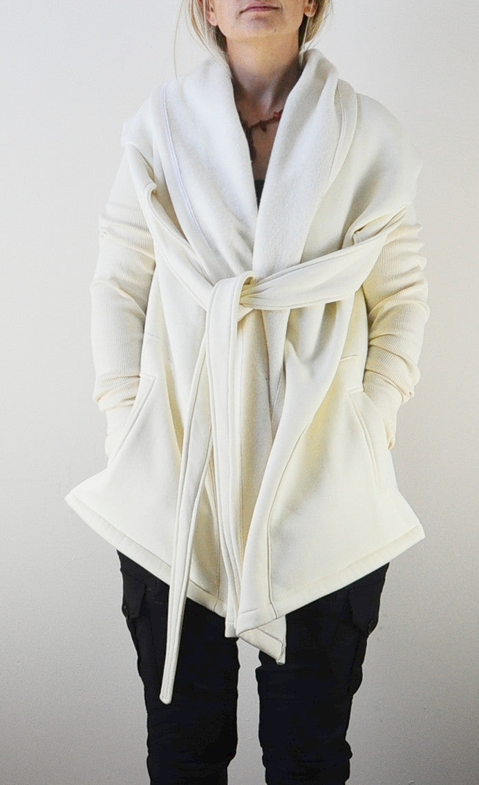Women Big Hooded Tie Shawl Asymmetrical Cut Hoodie