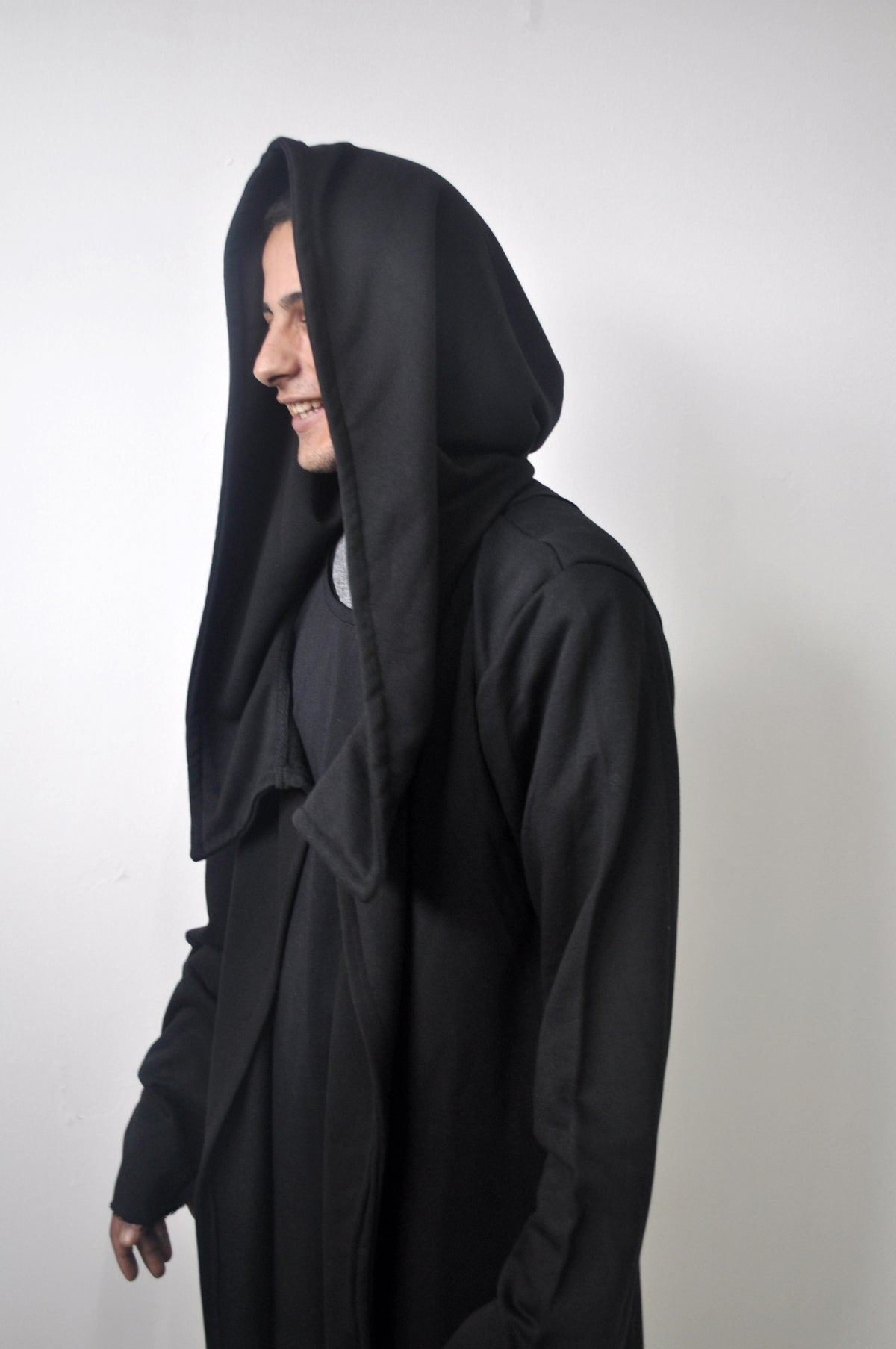 Assassin's Creed Men's Oversized Hood Cardigan Long Sleeve / Raw Edges Cloak Hooded Rope Long Asymmetric Coat Jacket