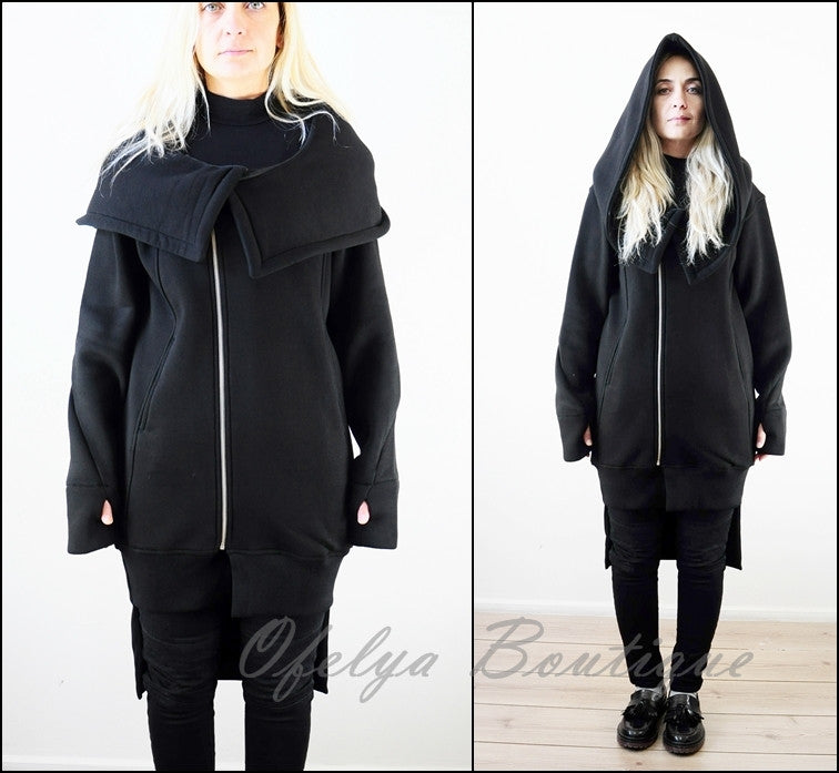 Oversized Hood Long Sleeve Hoodie // Raw Edges at Sleeve Cuffs // Avant Grade Over long Hoodie
