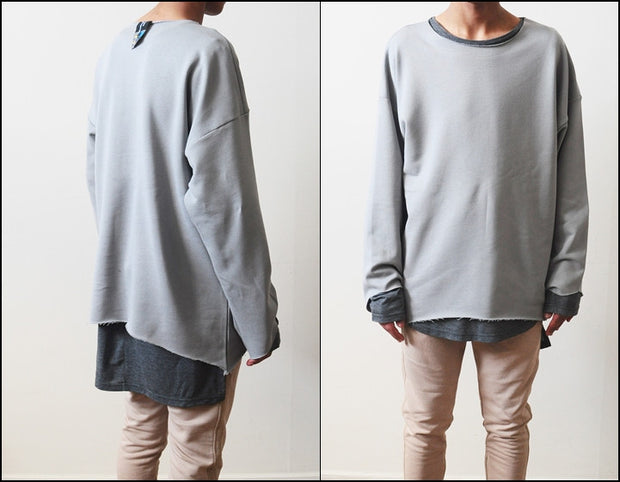 AW Distressed Stone Sweat Strapped Crewneck 3/4 Random Cut