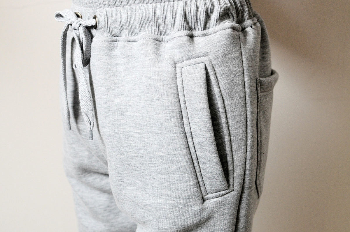 Quilted Ankle Sides and Front Panels Fit Skinny Track Sweatpant Trouser Pant