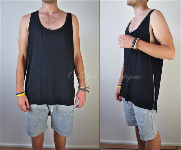Men^s Singlet Enlenghten Side Zip Cotton Long Extended Tank Top