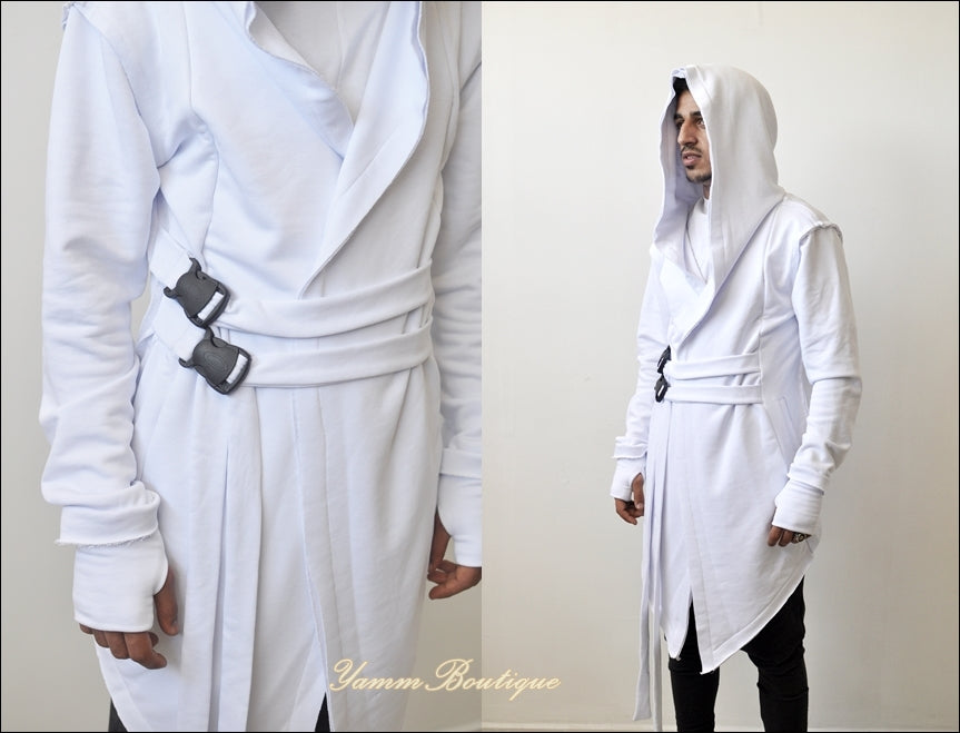 Assassin's Creed Hooded Cardigan Kimono Cyber Goth Jacket,Long Asymmetrical Punk Rock Star Wars Cosplay Urban Coat Steampunk Futuristic