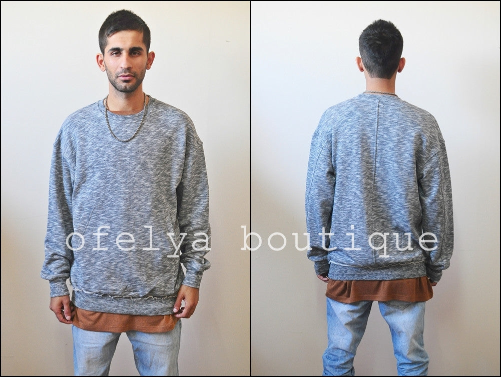 Raw Edge Waistband 80's Sweater  / Oversized Fit / Dropped Shoulder / Rear Neck Badge