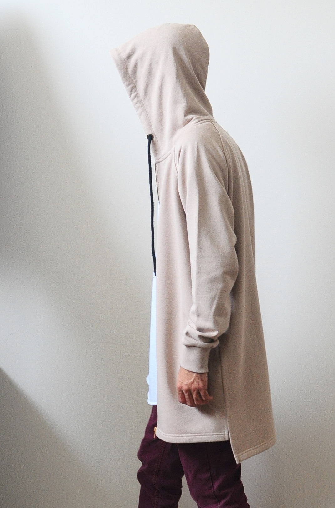 Sand Black Relaxed-fit Oversized Overlong Hooded Zip Up Sweatshirt