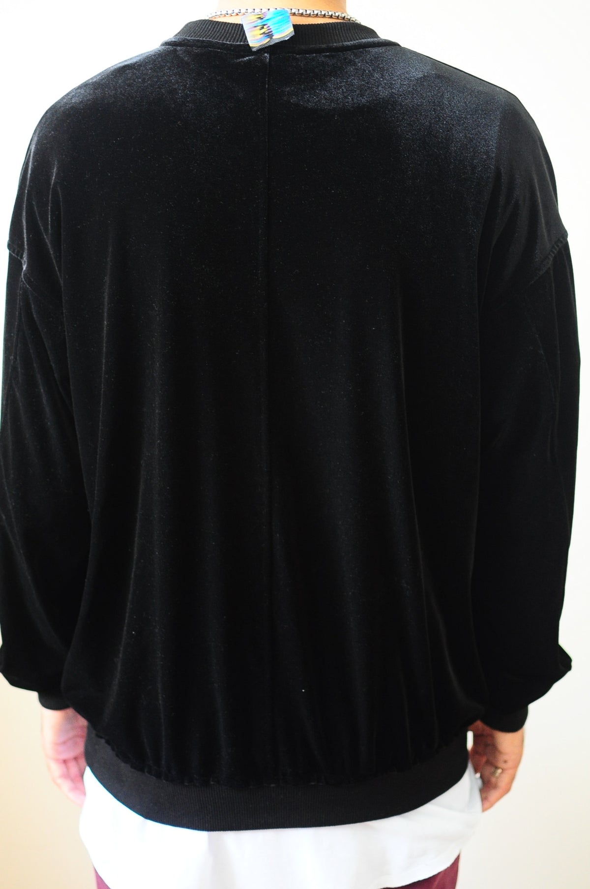 Velvet Vantablack Raw Edge Velvet 80's Sweater Oversized Fit Dropped Shoulder / Rear Neck Badge